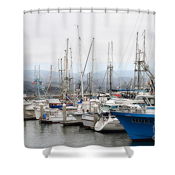 Fishing Boats In Pillar Point Harbor At Half Moon Bay California . 7d8208 Shower Curtain by Wingsdomain Art and Photography