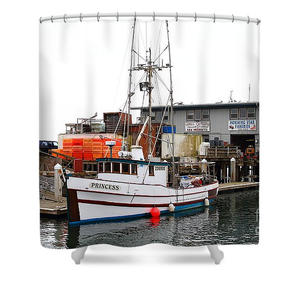 Fishing Boats In Pillar Point Harbor At Half Moon Bay California . 7d8210 Shower Curtain by Wingsdomain Art and Photography