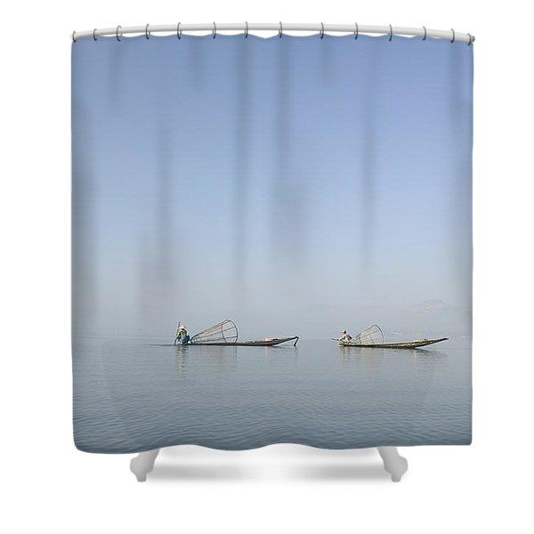 Fishing Boats, Inle Lake, Myanmar Burma Shower Curtain by Huy Lam