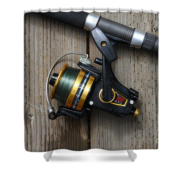 Fishing Rod and Reel . 7D13542 Shower Curtain by Wingsdomain Art and Photography