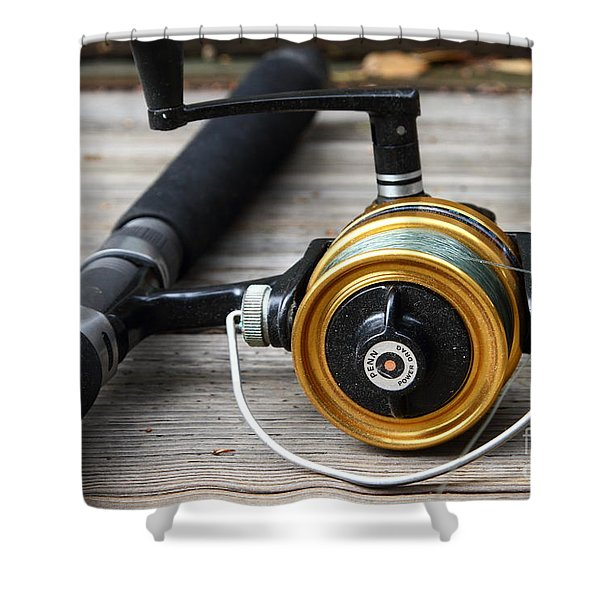 Fishing Rod and Reel . 7D13547 Shower Curtain by Wingsdomain Art and Photography