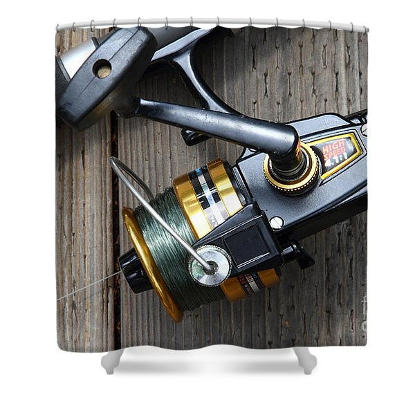 Fishing Rod and Reel . 7D13565 Shower Curtain by Wingsdomain Art and Photography