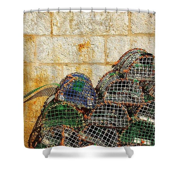 fishing traps Shower Curtain by Carlos Caetano