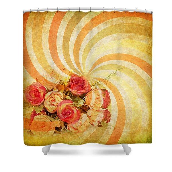 flower pattern retro style Shower Curtain by Setsiri Silapasuwanchai