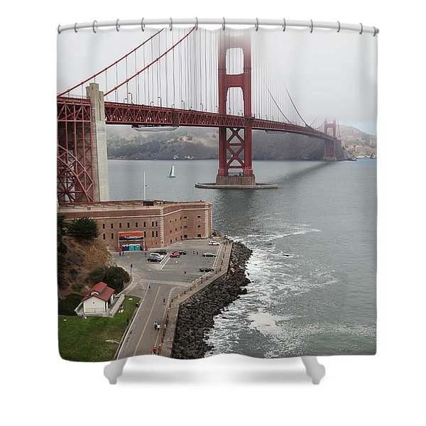 Fog At The San Francisco Golden Gate Bridge - 5D18872 Shower Curtain by Wingsdomain Art and Photography