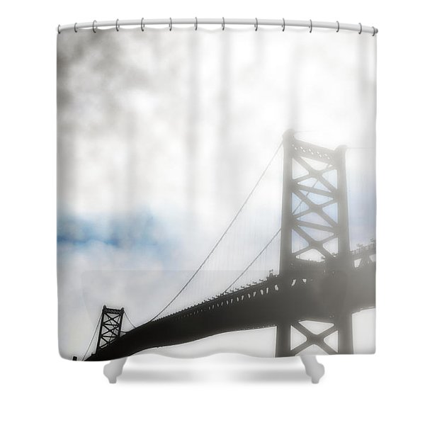 Foggy Ben Franklin Bridge - Philadelphia Shower Curtain by Bill Cannon