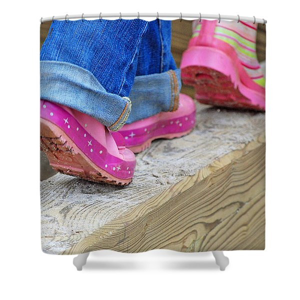 Follow The Leader Shower Curtain by Lisa  Phillips