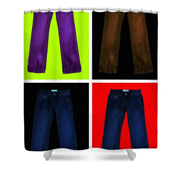 Four Pairs of Blue Jeans - Painterly Shower Curtain by Wingsdomain Art and Photography