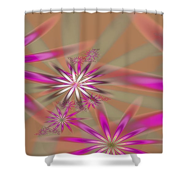 Fractal Flowers Shower Curtain by Gina Lee Manley