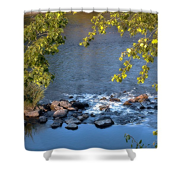 Framed Rapids Shower Curtain by Robert Bales