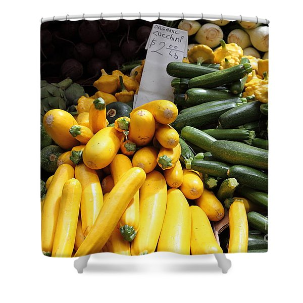 Fresh Zucchinis and Artichokes - 5D17817 Shower Curtain by Wingsdomain Art and Photography