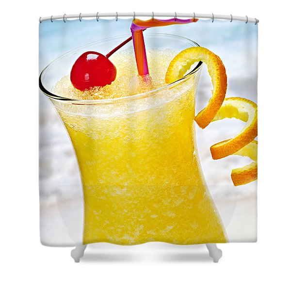 Frozen Tropical Orange Drink Shower Curtain by Elena Elisseeva