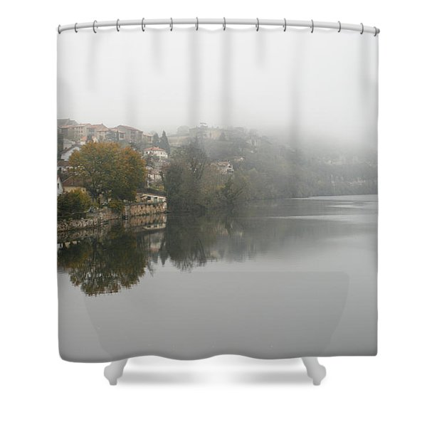 Fumel on a misty day Shower Curtain by Nomad Art And  Design