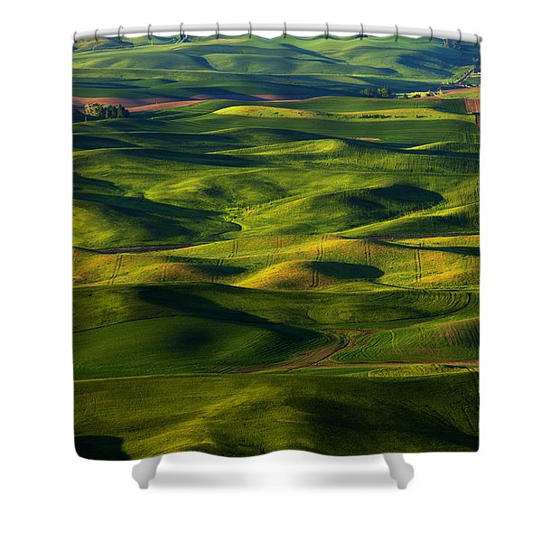 Furrows And Folds Shower Curtain by Mike  Dawson