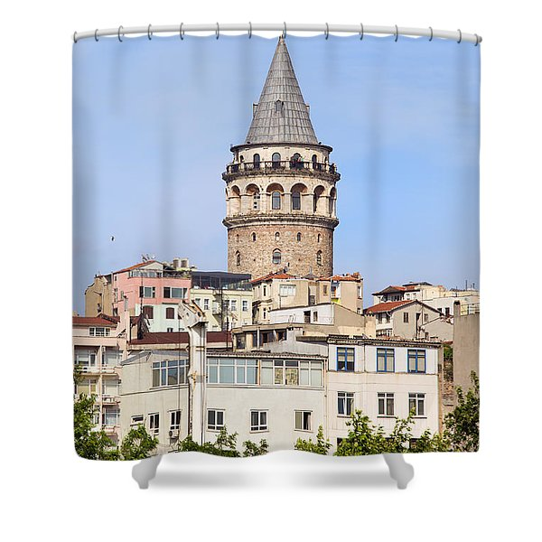 Galata Tower in Istanbul Shower Curtain by Artur Bogacki