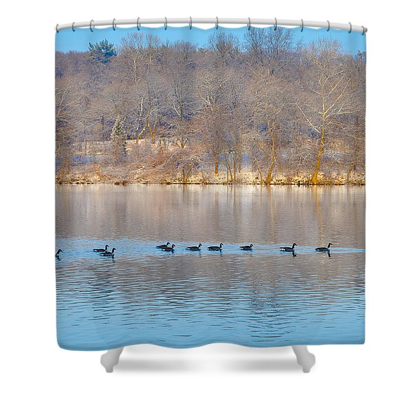 Geese In The Schuylkill River Shower Curtain by Bill Cannon