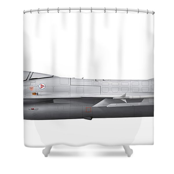 General Dynamics F-16a Fighting Falcon Shower Curtain by Chris Sandham-Bailey