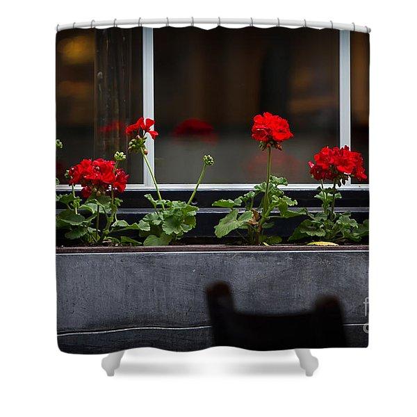 Geranium Flower Box Shower Curtain by Doug Sturgess