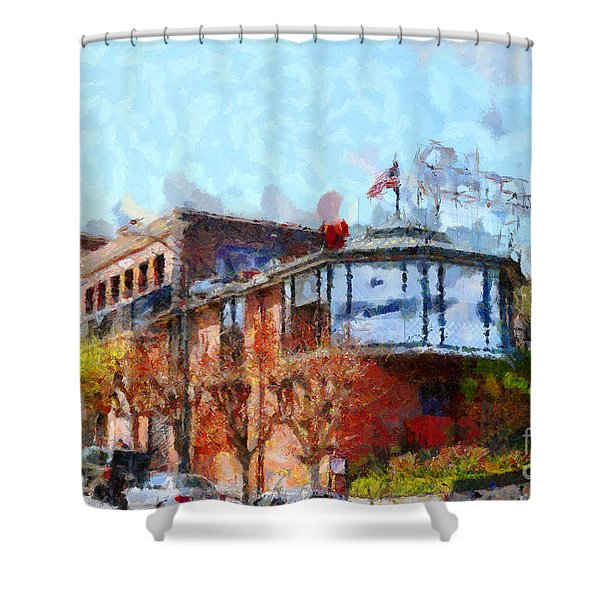 Ghirardelli Chocolate Factory San Francisco California . Painterly . 7D14093 Shower Curtain by Wingsdomain Art and Photography