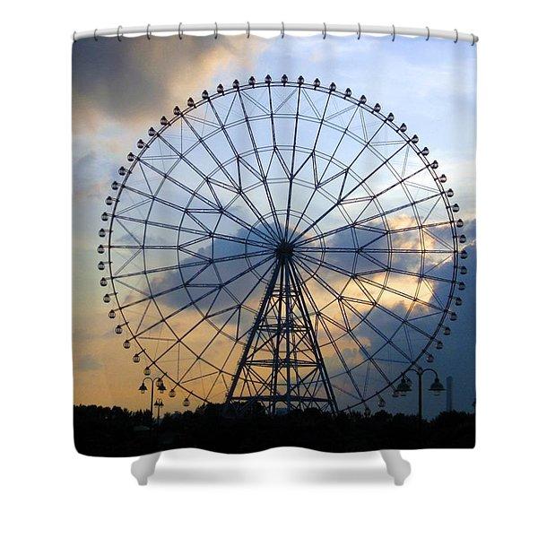 Giant Ferris Wheel At Sunset Shower Curtain by Paul Van Scott