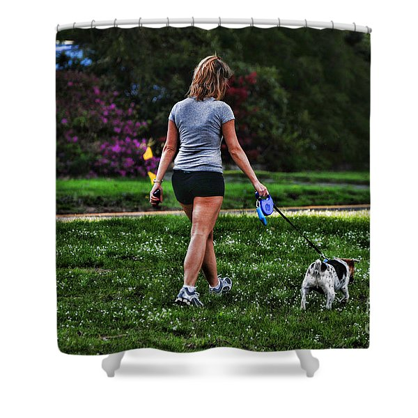 Girl walking dog Shower Curtain by Paul Ward