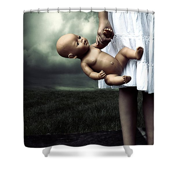girl with a baby doll Shower Curtain by Joana Kruse