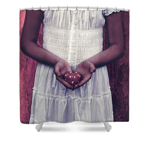 girl with a heart Shower Curtain by Joana Kruse