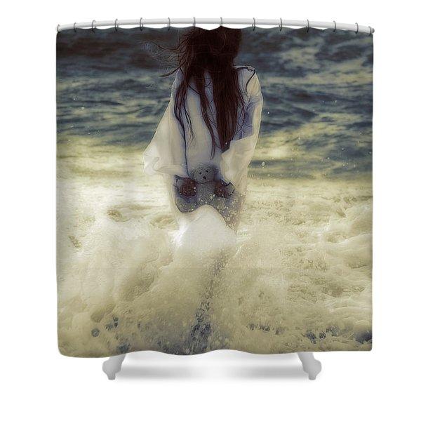 Girl With Teddy Shower Curtain by Joana Kruse