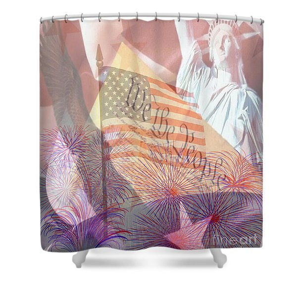 God Bless the USA Shower Curtain by Cheryl Young
