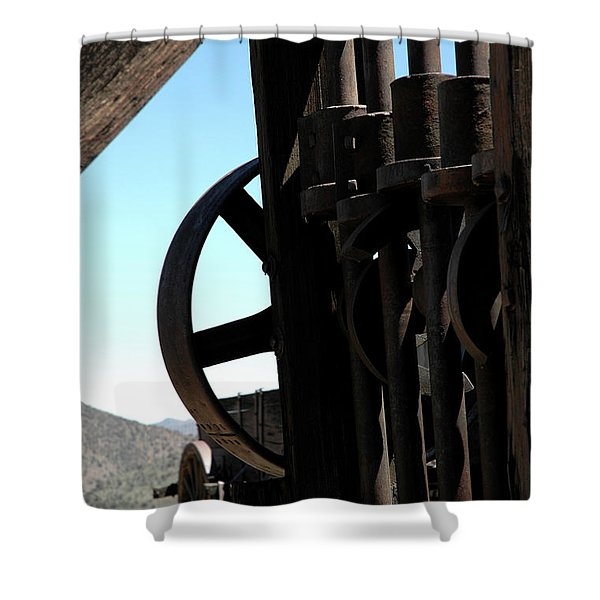 Gold Mining Stone Crusher Shower Curtain by LeeAnn McLaneGoetz McLaneGoetzStudioLLCcom