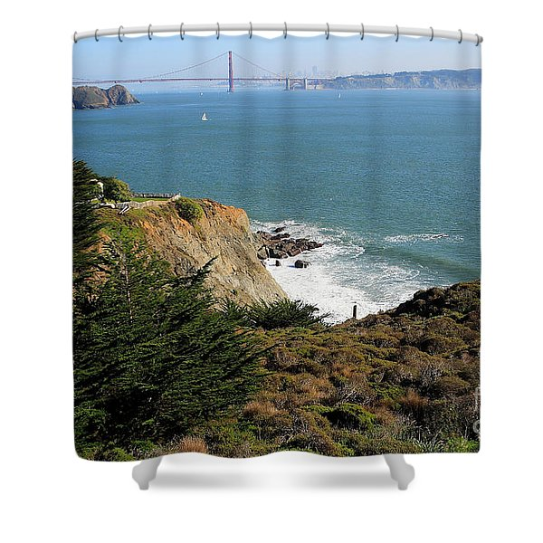 Golden Gate Bridge Viewed From The Marin Headlands Shower Curtain by Wingsdomain Art and Photography