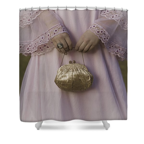 golden handbag Shower Curtain by Joana Kruse