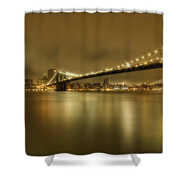 Golden Night Shower Curtain by Evelina Kremsdorf