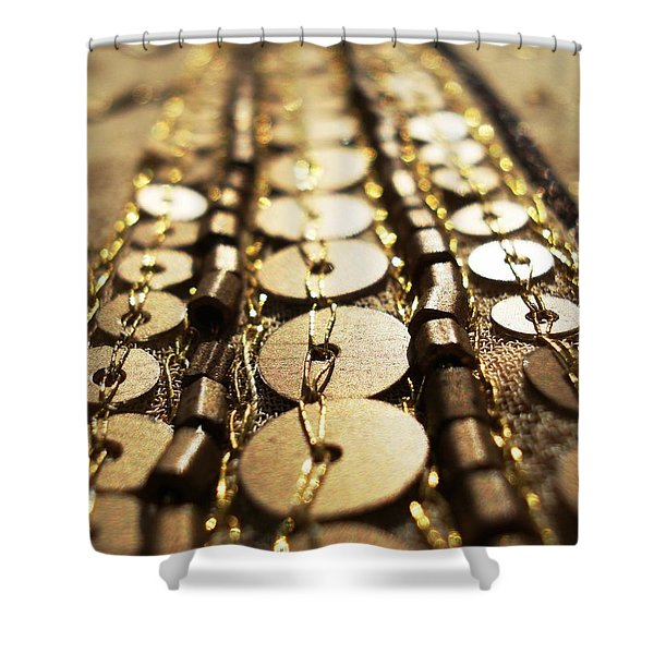 Golden Sequins Highway Shower Curtain by Sumit Mehndiratta