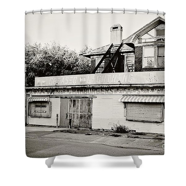 Greased Lightning Shower Curtain by Scott Pellegrin