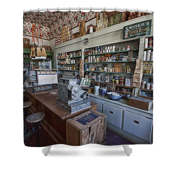 GROCERY STORE of YESTERYEAR - VIRGINIA CITY MONTANA GHOST TOWN Shower Curtain by Daniel Hagerman