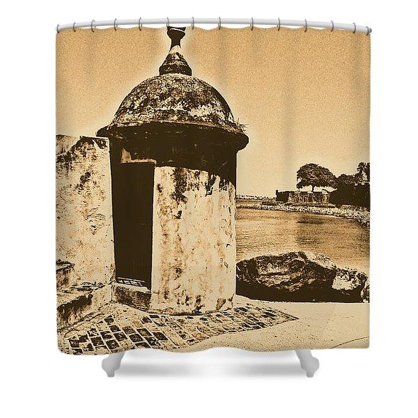 Guard Post Castillo San Felipe Del Morro San Juan Puerto Rico Rustic Shower Curtain by Shawn O'Brien