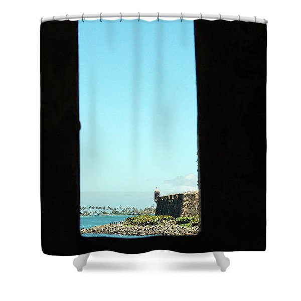 Guard Tower View Castillo San Felipe Del Morro San Juan Puerto Rico Shower Curtain by Shawn O'Brien