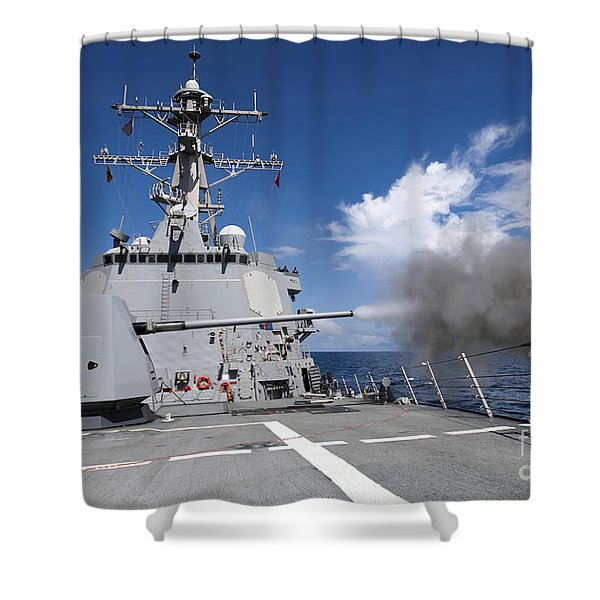 Guided-missile Destroyer Uss Pinckney Shower Curtain by Stocktrek Images