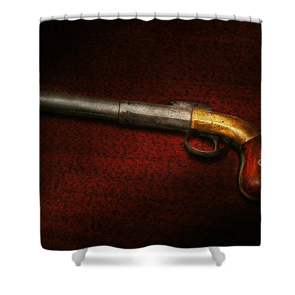 Gun - The Shooting Iron Shower Curtain by Mike Savad