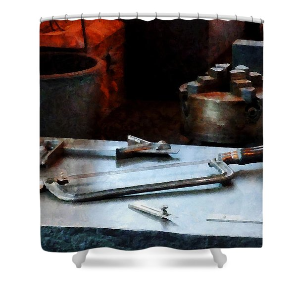 Hacksaw Shower Curtain by Susan Savad