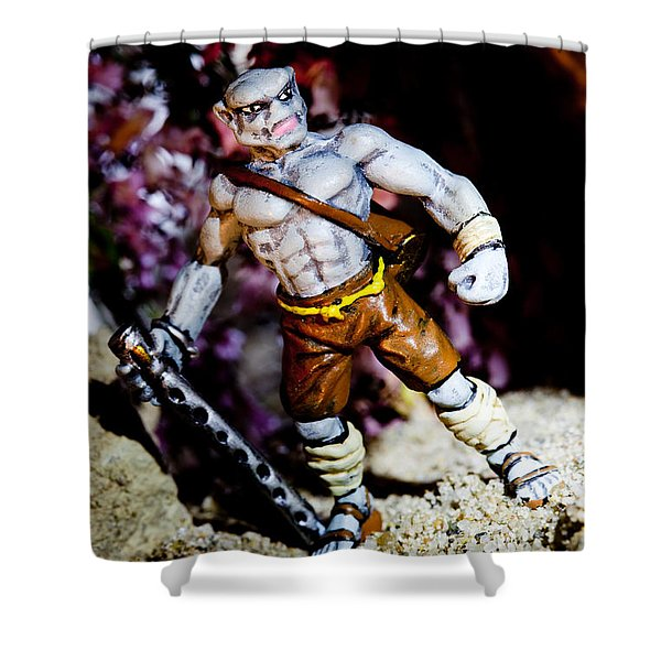 Half Orc Monk Shower Curtain by Marc Garrido