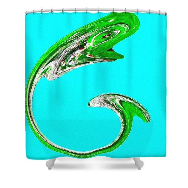 Hammer Tail Whale Shower Curtain by Will Borden