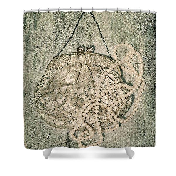 Handbag With Pearls Shower Curtain by Joana Kruse