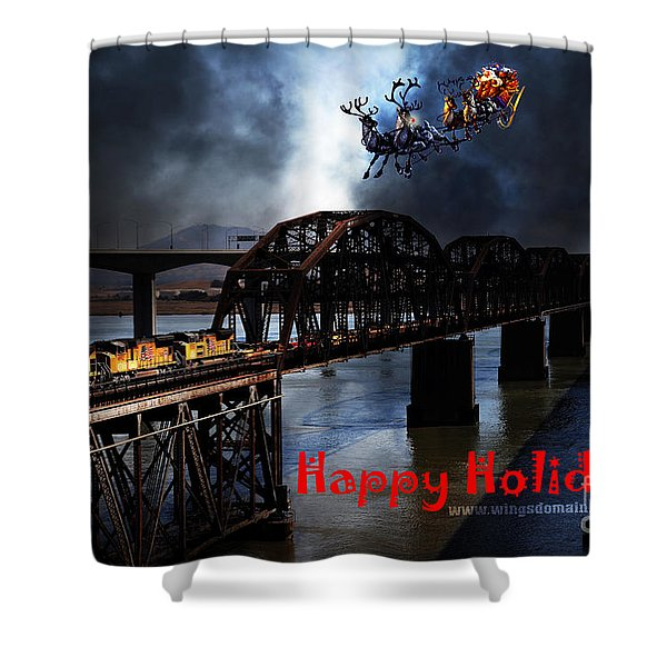 Happy Holidays - Once Upon A Time In The Story Book Town Of Benicia California - 5d18849 Shower Curtain by Wingsdomain Art and Photography