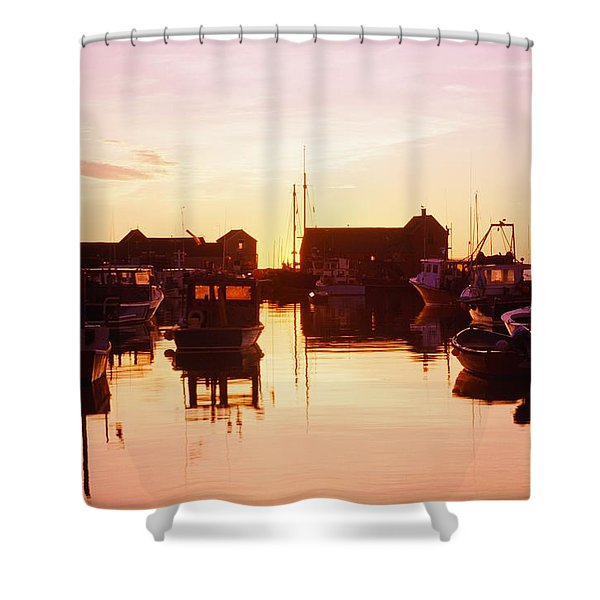 Harbor At Sunrise Shower Curtain by Bilderbuch