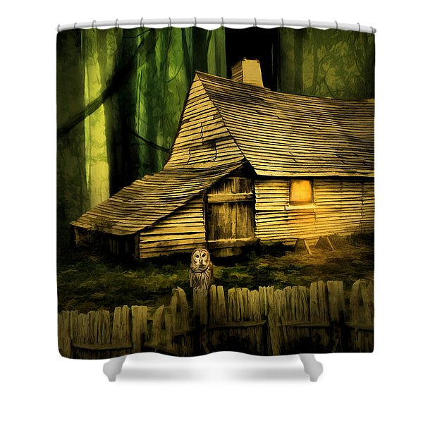 Haunted Shack Shower Curtain by Lourry Legarde