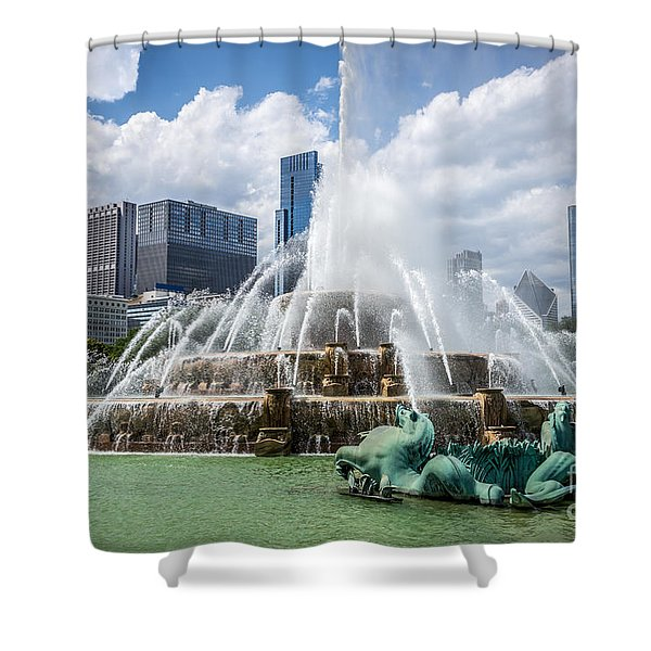 Hdr Picture Of Buckingham Fountain And Chicago Skyline Shower Curtain by Paul Velgos