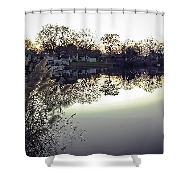 Hearns Pond Reflection Shower Curtain by Brian Wallace