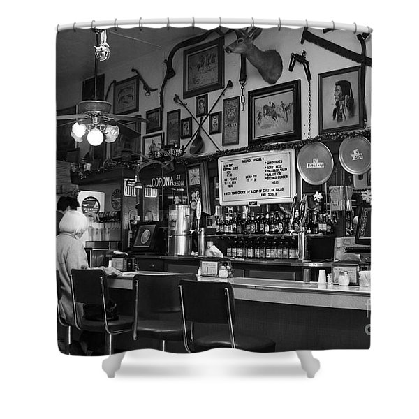 Historic Niles District in California Near Fremont . Bronco Billys Pizza Palace . 7D10707 . bw Shower Curtain by Wingsdomain Art and Photography